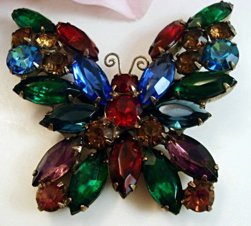 WEISS Costume Jewelry Rhinestone Butterfly Brooch Pin Designer Signed