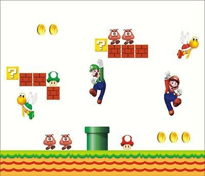 Big Super Mario Brothers Wall Sticker/Decal Removable Kids Room Decor