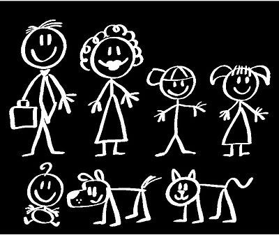 Stick People Family Car Decals Stickers #4 COLOR YELLOW
