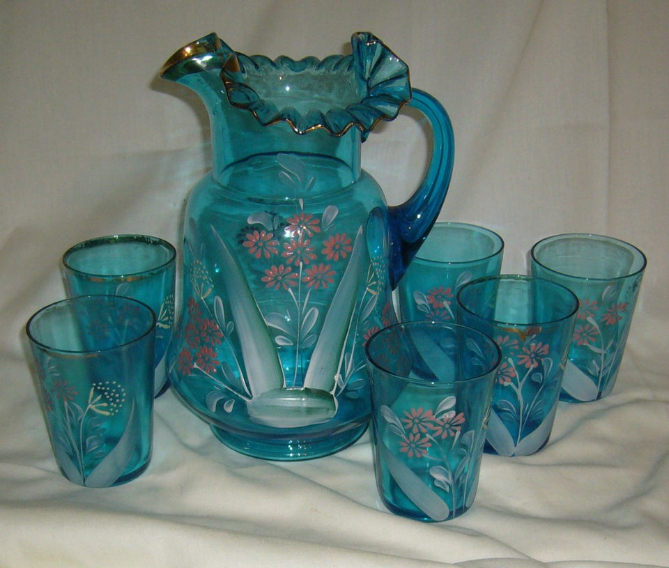VICTORIAN HAND PAINTED DAISY BLUE GLASS WATER SET PITCHER & 6 TUMBLERS