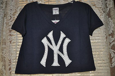 VICTORIA SECRET PINK NEW YORK YANKEES RHINESTONE CROP TOP S or L