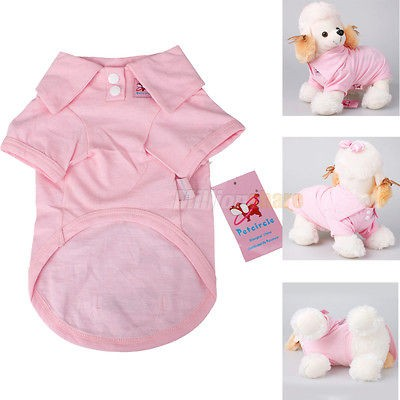 New Cotton Pet Dog Clothes Apparel Cute POLO T Shirt Size XS S M L