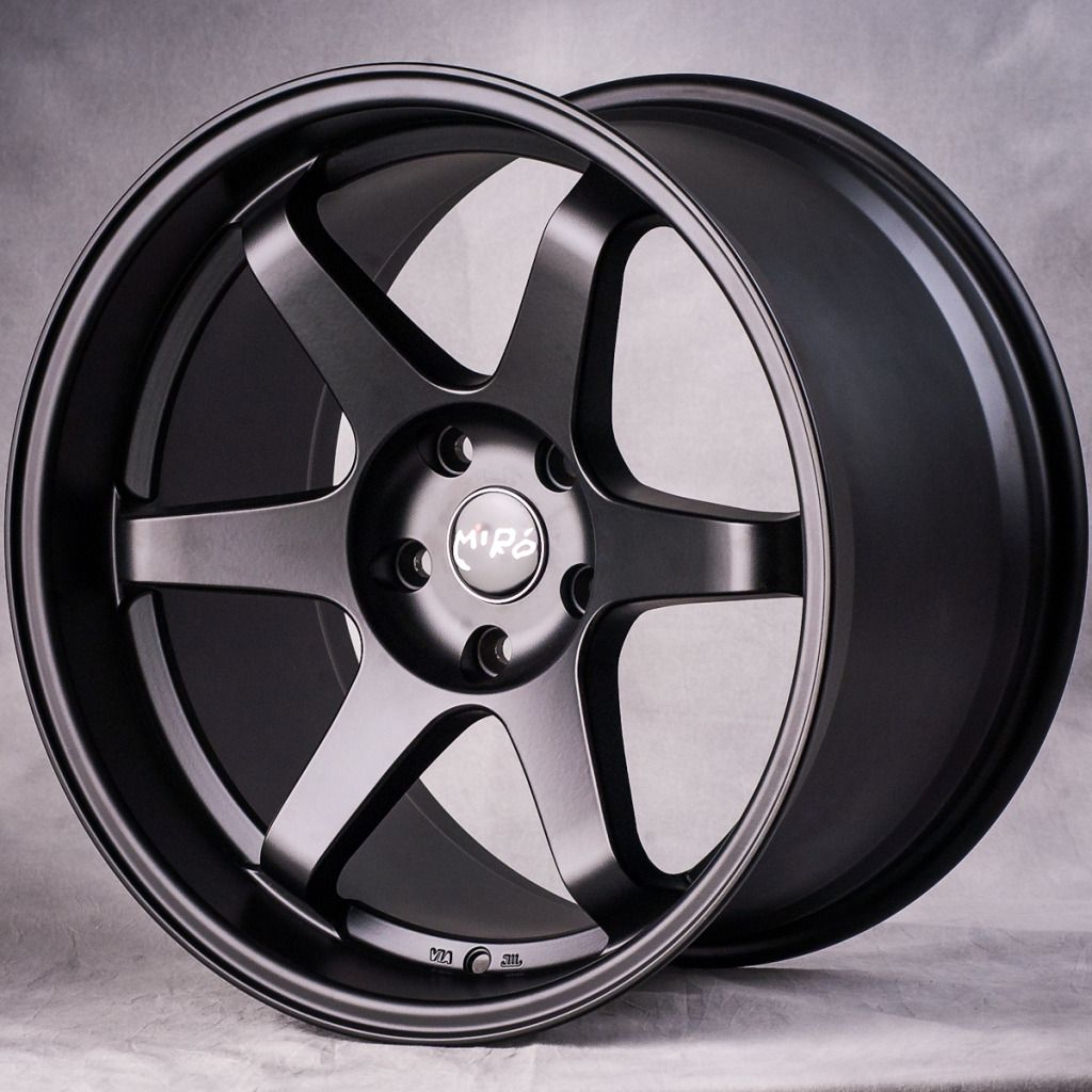 18 MIRO398 Matte Black Staggered Style Wheels Rims Fit Nissan 350Z