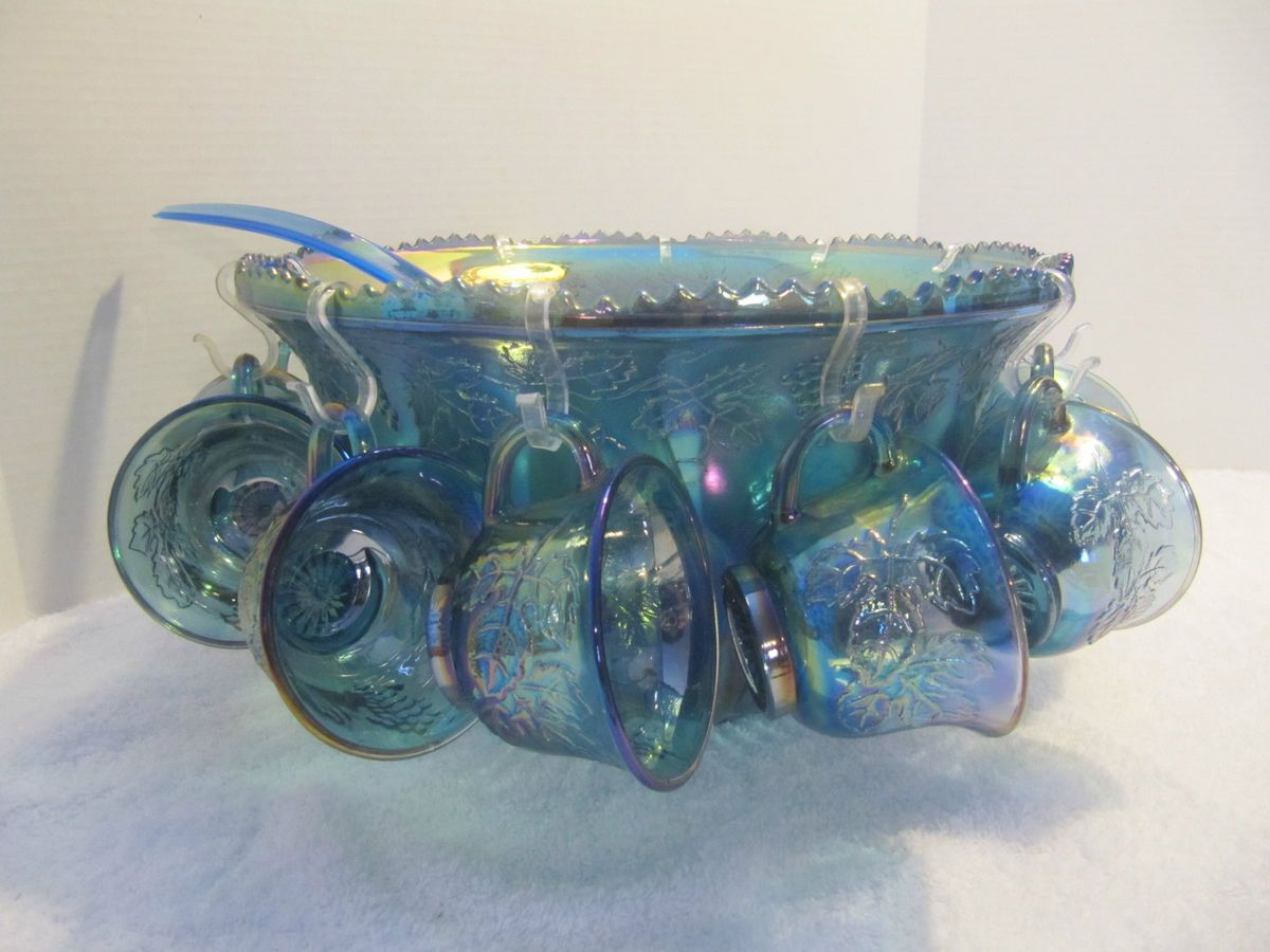 Indiana Blue Carnival Glass Punch Bowl with 12 cups and BLUE Ladle