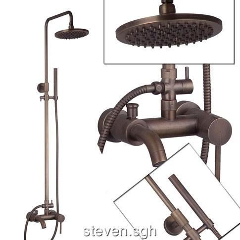 Antique Brass Wall Mounted Rain Shower Faucet Set FG 81