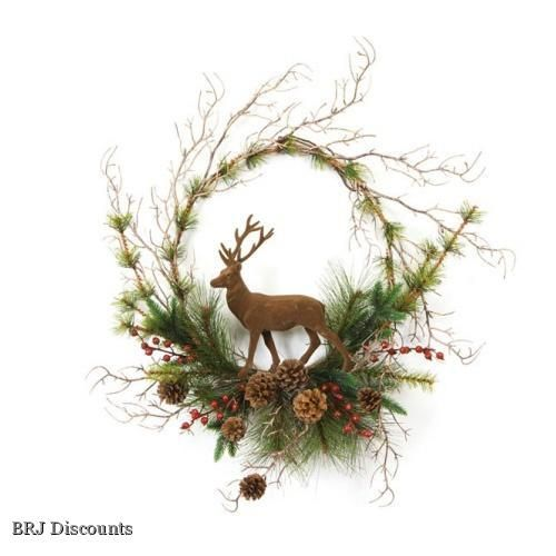 Rustic Lodge 20 Artificial Christmas Wreath with Deer