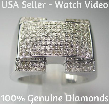 90 Carat Mens White Gold Finish Diamond Engagement Wedding Pinky Ring