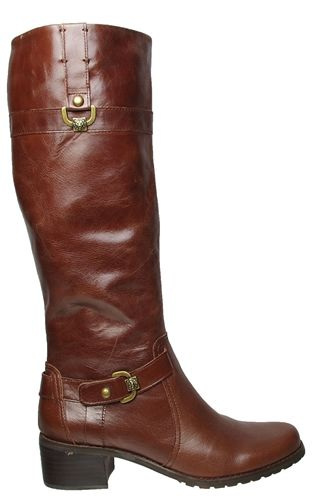 Anne Klein Womens Boots Edith Dark Brown Leather Sz 7 M