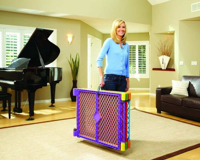 North States Color Superyard Baby Pet Gate Portable Play Yard 6 Panel
