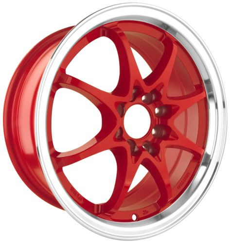 DR9 15 Rims Red 4 Lugs Drag Wheels Universal Red Rim