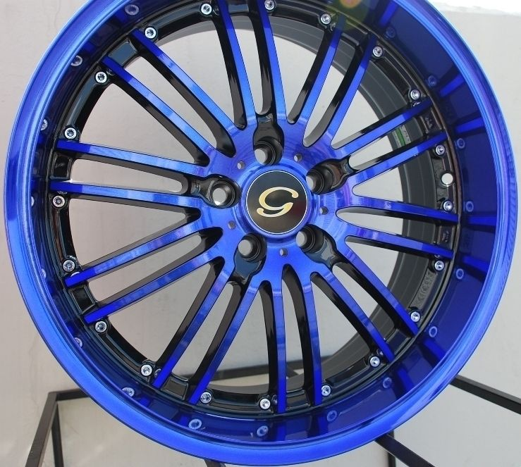 18x8 G Line G820 Wheel 5x108 38 Black Blue Rim Fits Volvo V40 S40 C70