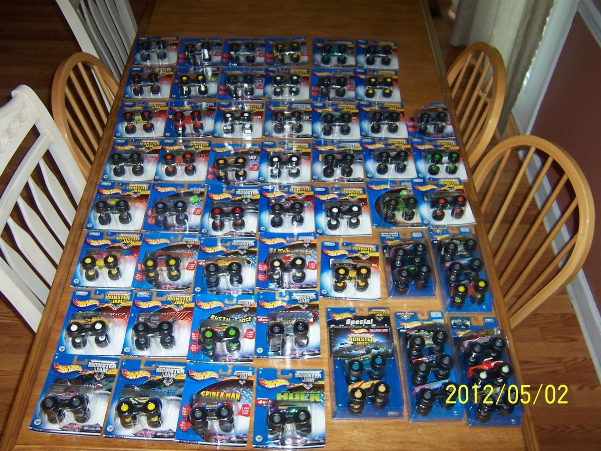 Huge lot of 59 1 64 scale hot wheels monster jam trucks collection new