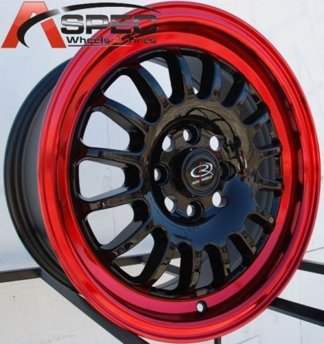 Rota Track R 16x7 4x100 ET40 Black Red Lip Rim Wheels